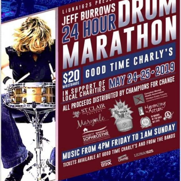 JEFF BURROWS 24 HOUR DRUM MARATHON – May 24 – 25, 2019