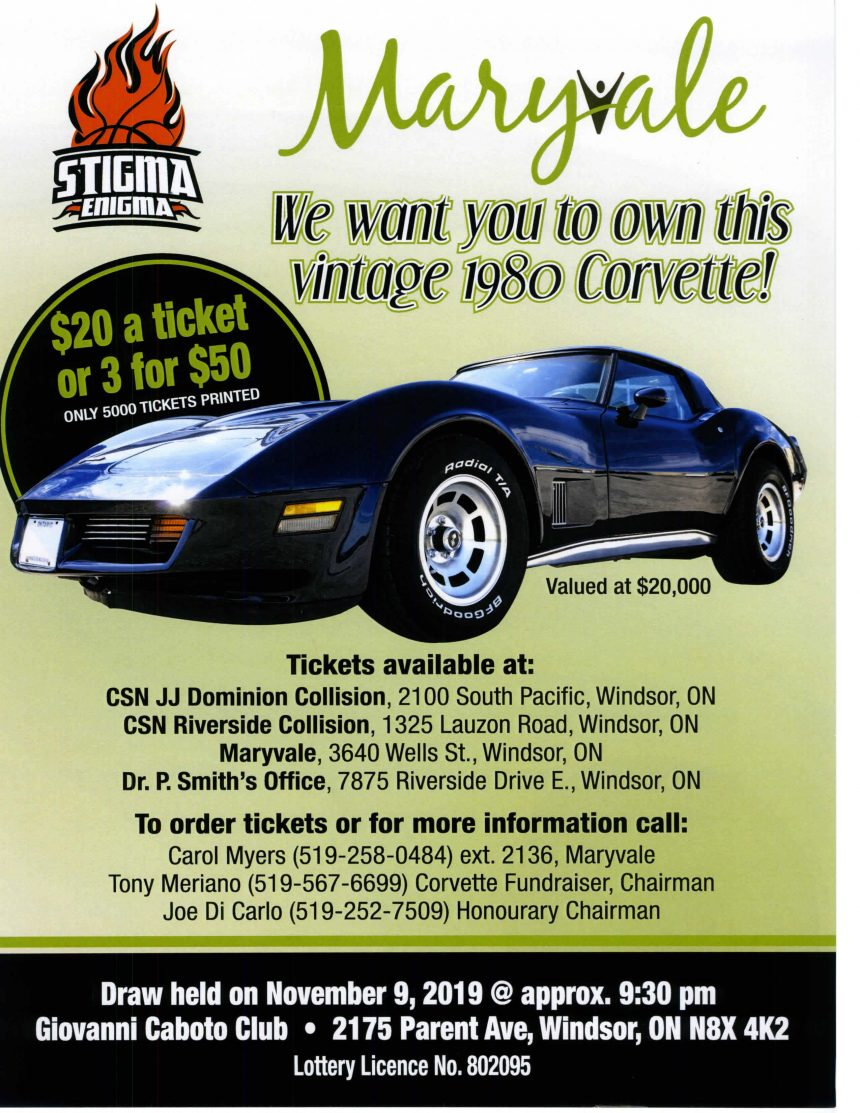 We want you to own this 1980 Corvette! Draw held November 9, 2019 @ approx. 9:30pm – Order your ticket today – Call 519-258-0484